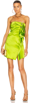 Versace Mini Strapless Cocktail Dress in Lime | FWRD