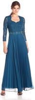 Decode 1.8 183778 Lace Embellished Accordion Pleats Long Dress