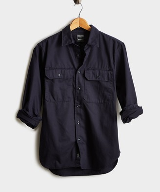 Todd Snyder Italian Two Pocket Utility Long Sleeve Shirt in Navy