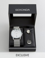 Sekonda Silver Mesh Watch & Cufflinks Gift Set Exclusive To ASOS