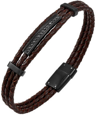 Sutton Stainless Steel And Braided Leather Bracelet With Cubic Zirconia Stations