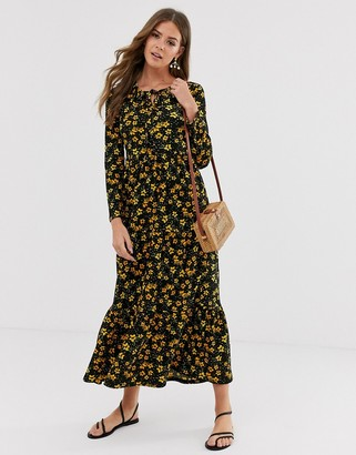 Free People tiers of joy floral midi dress-Black