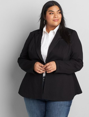 Lane Bryant Ponte Peplum Blazer With Satin Lapel