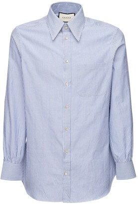 Gucci Striped Cotton Twill Shirt