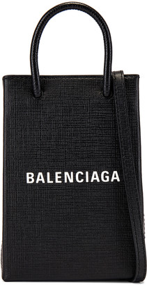Balenciaga Phone Strap Shopping Bag in Black   FWRD