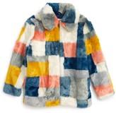 Girl's Stella Mccartney Kids Abbie Faux Fur Colorblock Jacket