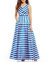 Eliza J Sleeveless V-Neck Striped Ball Gown
