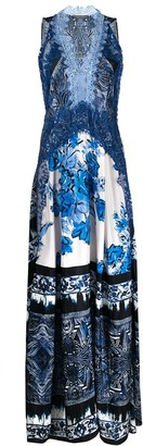 Alberta Ferretti Floral-Print Lace-Trimmed Silk Maxi Dress
