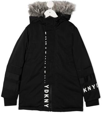 DKNY Logo Print Detail Coat