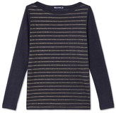 Petit Bateau Womens long-sleeved linen T-shirt with shiny stripes