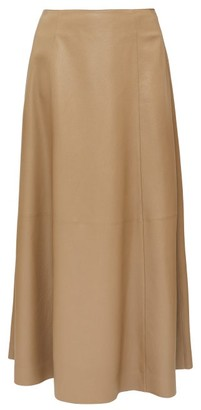 The Row Timowa Grained-leather Midi Skirt - Camel