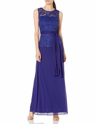 Onyx Nite Women's Long Lace and Mesh Gown with Tie Waist