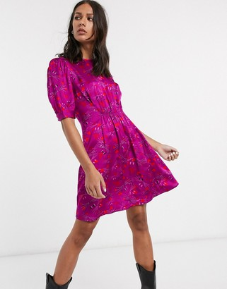 And other stories & mouse face print puff sleeve mini dress in pink
