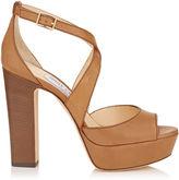 Jimmy Choo APRIL 120 Canyon Vacchetta Leather Platform Sandals