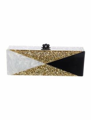 Edie Parker Long Glitter Box Clutch Gold
