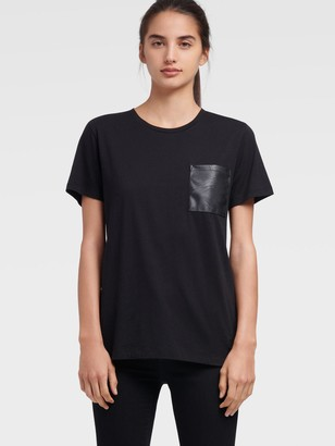 DKNY Women's Faux Leather Pocket Tee - Black - Size XX-Small