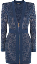 Balmain Paisley-intarsia Stretch-knit Mini Dress - Blue