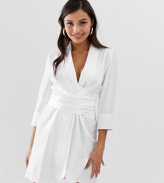 ASOS DESIGN Petite mini tux dress with Self tie belt