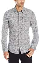 Calvin Klein Jeans Men's Netting Bar Print Long Sleeve Button Down Shirt