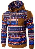 changeshopping Changshopping Men Bohemian Retro Long Sleeve Hoodie Hooded Sweatshirt Jacket Coat (XL, )