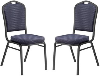 National Public Seating (Pack of 2) NPS 9300 Series Deluxe Fabric Upholstered Stack Chair, Diamond Navy