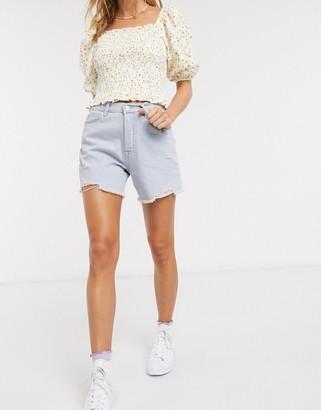 Miss Selfridge recycled denim shorts in bleach wash