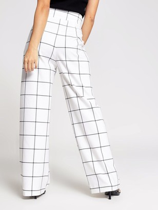Ri Petite Windowpane Wide Leg Trouser - Cream