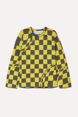 Off-White Oversized Checked Knitted Sweater - Yellow