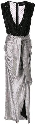 Christian Pellizzari Embellished Deep-Neck Dress