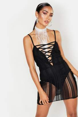 boohoo Fishnet Lace Up Plunge Mini Dress