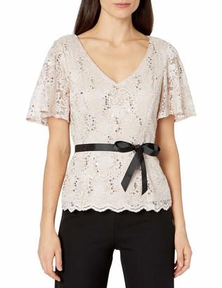Alex Evenings Women's Petite Lace Blouse Shirt (Missy and Plus)