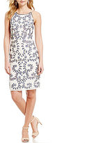 Gianni Bini Isla Halter Neck Floral Beaded Sheath Dress