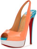 Christian Louboutin Lady Peep-Toe Slingback Red Sole Pump, Flamingo