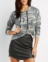 Charlotte Russe Camo Drawstring Hoodie