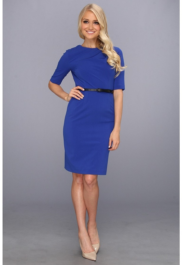 Ivy & Blu Maggy Boutique - 3/4 Sleeve Sheath Dress (Cobalt) - Apparel