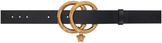 Versace Black Double-Ring Medusa Charm Belt
