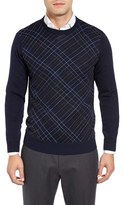 Toscano Men's Diagonal Check Wool Blend Sweater
