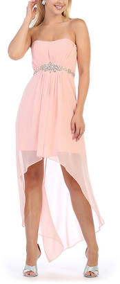 Blush B-Lush Mayqueen MayQueen Women's Special Occasion Dresses Blush - Blush Floral-Sequin Pleated Hi-Low Dress & Shawl - Women