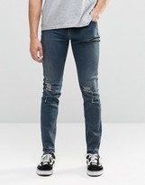 Cheap Monday Tight Skinny Jeans Stone Tint Knee Rips