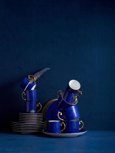 L'OBJET Sous La Lune Set Of 2 Tea Cups & Saucers