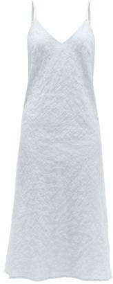 POUR LES FEMMES V-neck Organic-cotton Nightdress - Light Blue
