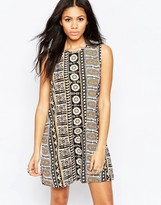 Brave Soul A Line Geo-Tribal Print Tunic Dress