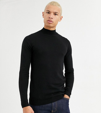 Asos DESIGN Tall cotton turtle neck in black