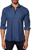 Jared Lang Plaid Button-Down Sport Shirt, Blue