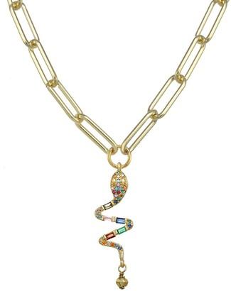 Rachel Reinhardt 14K Vermeil Enamel & Cz Pave Snake Necklace