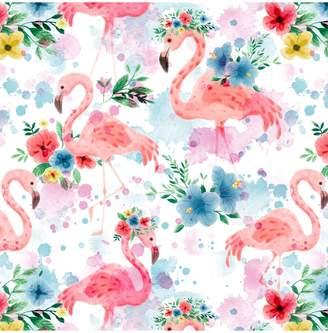 John Lewis & Partners Flamingo Flower Crown Cotton Fabric, White/Pink