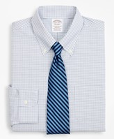 Brooks Brothers Stretch Soho Extra-Slim-Fit Dress Shirt, Non-Iron Poplin Button-Down Collar Small Grid Check