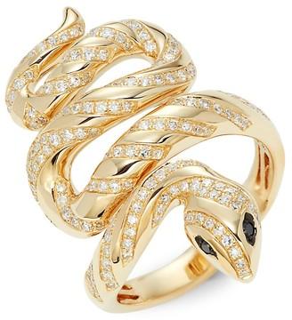 Effy Serpent 14K Yellow Gold 0.64 TCW White Black Diamonds