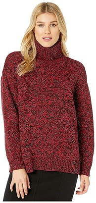 MICHAEL Michael Kors Boxy Long Sleeve Turtleneck (Black/Red Currant) Women's Clothing
