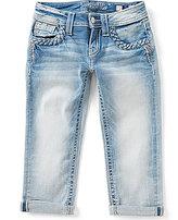 Miss Me Girls Big Girls 7-16 Embroidered Braid-Detail Cuffed Capri Jeans
